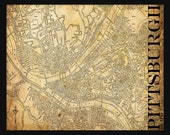 Pittsburgh Map - Street Map Vintage Print Poster Title Sepia Grunge