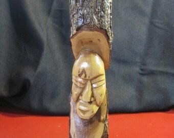 Vintage Hand-Carved Hard Wood Tikki Statue