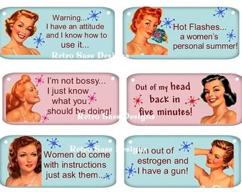 RETRO ladies with attitude WITH sassy sayings large hang tags turquoise and pink bks set of 6 3x4ish