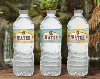 Vintage Zoo Water Bottle Labels - INSTANT DOWNLOAD - Editable & Printable Birthday Party Decorations by Sassaby