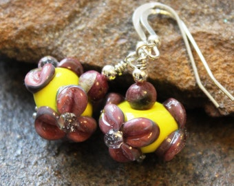 Floral Art Glass Earrings - Yellow with Dark Pink - Sterling Silver - Lampwork Earrings - Unique - Artisan - Handcrafted - Handmade