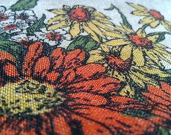 Vintage Daisy Flower Bouquet Tea Towel in yellows and orange (rust) colours Cotton or Linen
