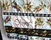 olives oliver MADE TO ORDER minky crib baby name cottage Handmade monogram name embroidered Quilt Heirloom Shower gift  persnonalized