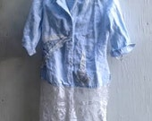RESERVED for Amy chambray linen lace gypsy vintage lace country boho chic shabby prairie fashion tunic shirt