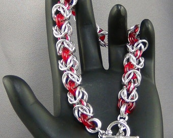 "Chainmaille, Aluminum Rings, Enameled Copper Rings, Czech Pressed Glass Rings 8"" Bracelet Hand Crafted Artisan Jewelry"