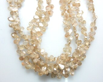 Zircon Beads Natural Champagne Zircon from the earth Rough Drops shape briolette size 3.5x5- 5x7mm Sold 15'' AAA Quality 100% natural