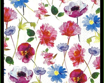 Floral tissue paper napkins for decoupage, lot of four 3ply 33cm