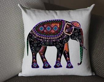 black elephant pillow, Cotton Linen elephant pillow cover, cartoon pillow covers elephant lumbar pillow 278