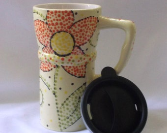 Eco Friendly Ceramic Travel Mug w/lid -Yellow with colorful dot flowers and swirls