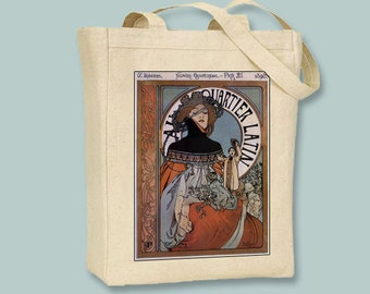 Alphonse Mucha Quartier Latin Black or Neutral Canvas Tote - Selection of size and color selection available