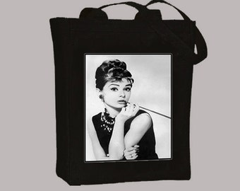 Audrey Hepburn, Breakfast at Tiffany's Portrait on Natural or Black Canvas Tote - Selection of sizes available