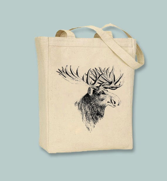 Fantastic Vintage Moose Head illustration Canvas Tote - Selection of sizes available, Image in ANY COLOR