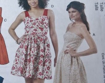 UNCUT McCalls 6349 Special Occasion Misses Evening or Casual Strapless Close Fitting Bodice Dress M6349 Sewing Pattern Size  14 16 18 20
