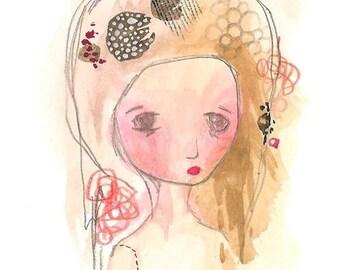 Sad girl illustration art print watercolour gouache abstract