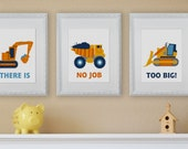 Construction, Construction Equipment, Nursery Wall Art, Children's wall Art- Set of three prints