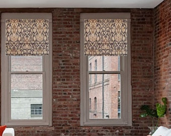 Ikat Faux Roman Shade Lined Mock Valance Brown Gray Black Taupe Natural/ Custom Sizing Available!