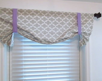 French Gray Quatrefoil Tie Up Curtain Valance with Purple Bands Window Topper HANDMADE in the USA