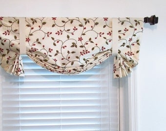 Floral Tie Up  Valance Lined Curtain Embroidered  Faux Silk  Ivory Red Green Custom Sizing Available!