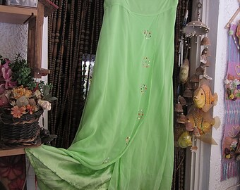 Gorgeous Apple-Green Long Asymmetrical Skirt Embellished with Delicate Sequins, Vintage - Large