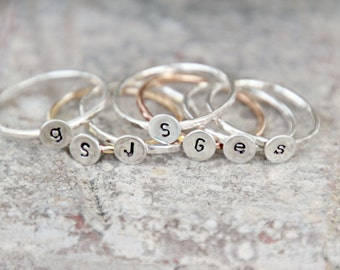 INITIAL STACKING RINGS-Single Initial Ring - Sterling Silver Custom Letter Stack Bands - thin intital rings-stackable rings-initial hammered