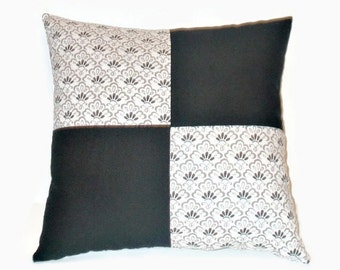 Decorative Black And White Color Block 16x16 Pillow With Some Taupe