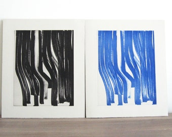 "Etchings . Fine Art Etchings . Print Set . Black and Blue Abstract art : ""Marker"". Print Size 11"" x 13"". unframed"