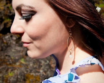 Wire wrapped gold hoop dangle earrings