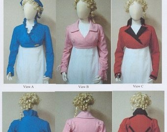 LM129 - Laughing Moon #129, 1798-1809 Ladies' Wrapping Front Spencer Sewing Pattern