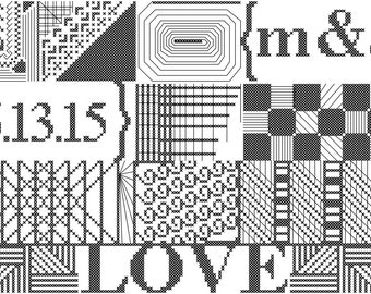 Modern Geometric Wedding Cross Stitch Sampler Pattern