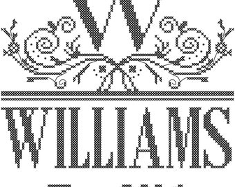 Modern Wedding Cross Stitch Pattern/ Wedding Cross Stitch Pattern/ Monogram Wedding Cross Stitch Pattern/ Decorative Border Cross Stitch