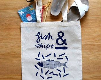 SALE Fish n Chips illustrated tote bag