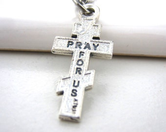 Cross necklace, Byzantine cross, Orthodox cross, Stainless steel chain necklace, Men jewelry