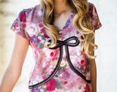 Top Tee Shirt Lounge / Floral Black Pink Silk Lace / NIGHT GARDEN Deco Tee - China Rose