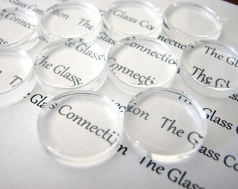"25 Clear Glass Round Circle Tile Cabochons  24mm or 1"" inch, for Bottlecaps, Pendants, Jewelry Making, Scrapbooking  fin0401"