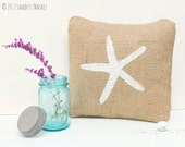 SALE! Starfish Pillow, Starfish Burlap Pillow Cover - Starfish Decorations, Beach Cottage, Beach Wedding, MARKED DOWN from 18.50
