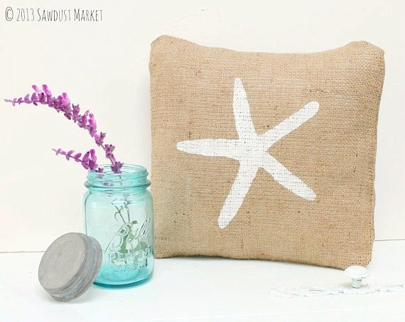 Starfish Pillow, Starfish Burlap Pillow Cover - Starfish Decorations, Beach Cottage, Summer Party Decor MARKED DOWN from 18.50