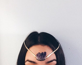 Amethyst Brass Choker Head Piece Crown Halo Chokers