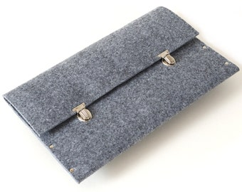 Grey Briefcase for MacBook 12 inch. Handmade Synthetic Felt Case. Unique Sleeve. Rivets Bag Cover