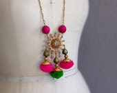 Bollywood Boho Necklace Long Length Gold Chain Pom Poms