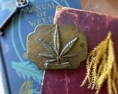 Vintage Marijuana Cannabis Pot Leaf Brass Belt Buckle