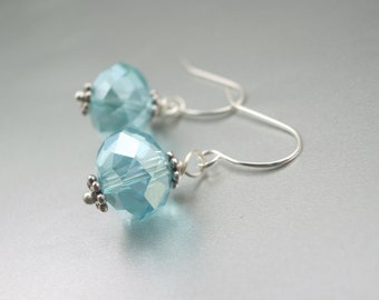 Aqua Marine Blue crystal and Silver Teardrop Bridesmaids   wedding  dangle under 10 earrings