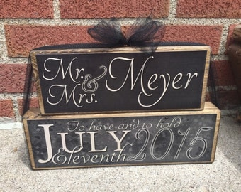 Romantic and Elegant Personalized Mr and Mrs Engagement Stackers made of Wood - Great Wedding or Shower Gift