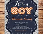 Baby Shower Invitation, BOY, It's a Boy, Baby Boy Shower Invitation, Baby Shower, Chevron Stripes, BOY, Gray, Navy, Orange, 1087