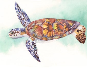 Sea Turtle print of watercolour painting ST3215 - A4 size medium print