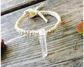 Simple Quartz Crystal Point Hemp Bracelet