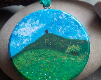 Glastonbury Tor Avalon's Apples Painted Wood Pendant