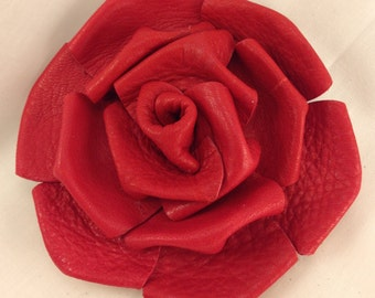 Leather Rose Clip - Red