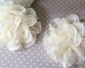 "Ivory Lace Fabric Flowers - Small  Ava 2.75"" Lace & Sheer Chiffon flowers wedding embellishment baby headband applique  flower shoe flower"