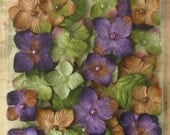 fabric flowers -  Purple Chantilly Velvet Hydrangeas -    32 flowers and 8 leaves Violet Purple  1272-205 -