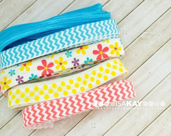 "You Are My Sunshine Elastic Assortment - 5 Yards Patterned and Solid Colors 3/8"" and 5/8"" Foldover Elastic Kit for headbands and hair ties"